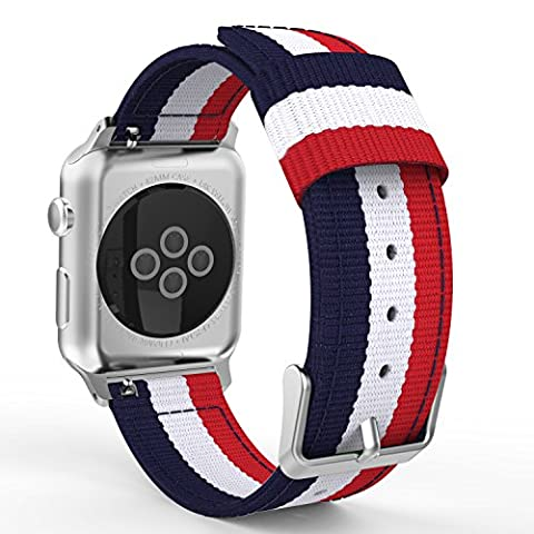 MoKo Armband für Apple Watch Series 1 / 2 42mm, Nylon Strick Sportarmband Uhrenarmband Uhr Erstatzband mit Schließe für Apple Watch Sportuhr 42mm 2016 & 2015, Armbandlänge 138mm - 205mm, Blau/Weiß/Rot