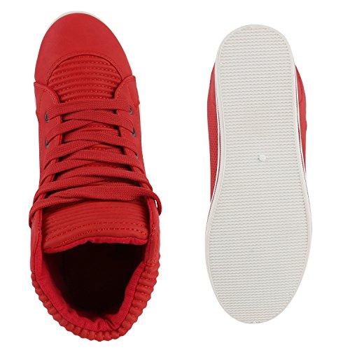 Damen High Top Sneakers Sportschuhe Schnürer Freizeit Schuhe Rot