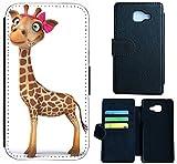 Samsung Galaxy J3 (2016) J310 Hülle Flip Cover Case Schutzhülle für Galaxy J3 Modell 2016 von Samsung Design Wico (1004 Giraffe Braun mit Schleife Pink)