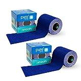 2 Rollen PureOne Smooth 6cm x 5m Vorratspack Wundpflaster   Fingerpflaster modellierbar selbstklebend Latexfrei Soft Pflaster Kohäsiv Tape (Blau) 10 Meter