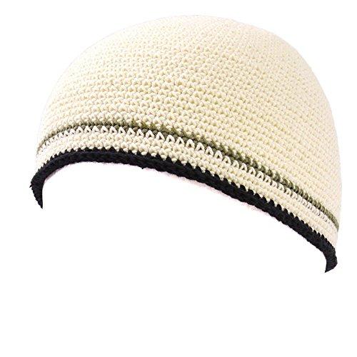 Casualbox Herren Schädel Mütze Beanie Hand Gestrickt elastisch Japanisch Weiß -