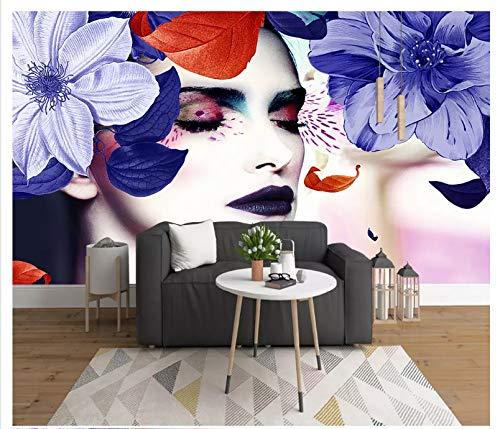 WH-PORP Handgemalte bunte kleine frische große Hintergrund-Wand der Blumen-Schönheit 3D Tapete 3D-450cmX300cm