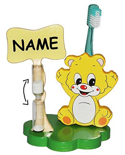 Zahnputzuhr / Zahnbürstenhalter - Teddy Bär incl. Namen - mit Sanduhr + Zahnbürste - aus Holz - für Kinder / zum Zähneputzen für 1 Minute - Badezimmer Bad Kinderzahnbürste / Mädchen Jungen - Tiere Teddybär