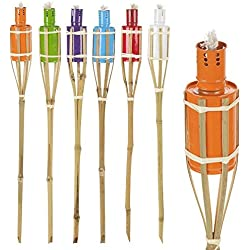 6 linternas de parafina para jardín, de colores variados, 60 cm, de bambú