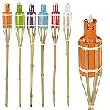6colori assortiti, per esterni, olio di paraffina torce in bambù 60cm bruciatori