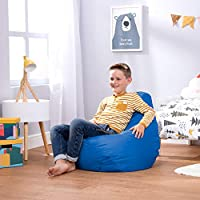 Bean Bag Bazaar, Blue, Kids Gaming Chair, Large, 69cm x 59cm-Indoor Outdoor Bean Bags for Children, 1 Pack