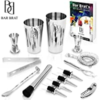 Premium 14 Piece Barman Kit Shaker Cocktail Drink Set by Bar Brat TM/free 130 ricette di cocktail (eBook) incluso/fare qualsiasi bevanda con questo kit barman