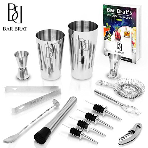 Premium 14 Piece Bar Set Cocktail Drink Shaker Kit by Bar Brat ? / Free 110 Cocktail Recipes (Ebook) Included / Make Any Drink With This Bartender Kit