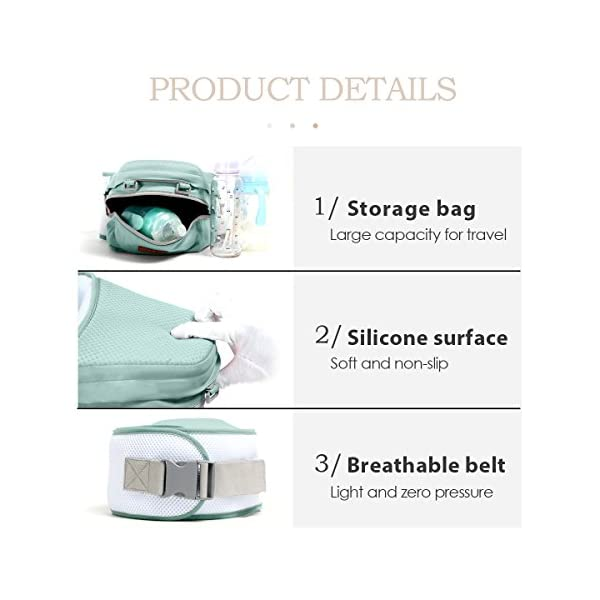 SONARIN 360°Breathable Premium Hipseat Baby Carrier, Ergonomic, Mummy Bag,100% Cotton, Breathable mesh Backing, Cozy & Soothing for Babies,100% Guarantee and Free DELIVERY,Ideal Gift(Green) SONARIN Applicable age and Weight:0-36 months of baby, the maximum load: 36KG, and adjustable the waist size can be up to 45.3 inches (about 115cm). Material:designers carefully selected soft and delicate 100% cotton fabric. Resistant to wash, do not fade, Inner pad: EPP Foam,safe and no deformation.360 ° all-round breathable, to the baby comfortable and safe experience. Description: patented design of the auxiliary spine micro-C structure and leg opening design, natural M-type sitting.Thickening 30mm sponge soft filling, effectively relieve Mommy abdominal force. 3D honeycomb hollow network, summer do not have to hot. 6