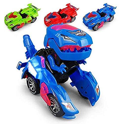 Verformung LED Auto Kinder Dinosaurier Spielzeug Spielen Fahrzeuge mit Licht blinkende Musik für Kind Geburtstagsgeschenk (DREI Packungen DREI - Party Stadt Alle Jungen Kostüm