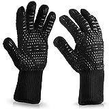 Carriea Grillhandschuhe Ofenhandschuhe - Hitzefeste BBQ Rutschfeste Handschuhe Perfekt zum Kochen Feuerplatz Accessoires