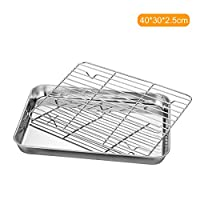 ‏‪Stainless Steel Flat Bottom Baking Tray with Mesh Set Square Barbecue Plate with Cooling Rack Drip Pan Baking Plate Barbecue Tray Bakeware (40 * 30 * 2.5cm)‬‏