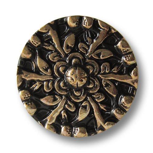Knopfparadies - 5er Set exklusive schwarz goldene Metallknöpfe mit floralem Muster / Design wie...