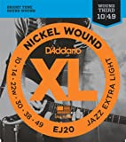 D\'Addario Cordes en nickel pour guitare électrique D\'Addario EJ20, Jazz Extra Light, 10-49