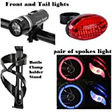 Economical Cycle Offer : Front and Tail Lights LED, 1 Pair of spkes Lights and 1 Rack Cage Holder for Bottles