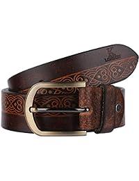K London Brown Men Casual Genuine Leather Belt (brn_laser_print)