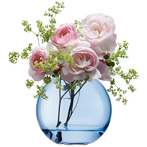 LSA International 11 cm jarrón diseño de flores y lunares, azul