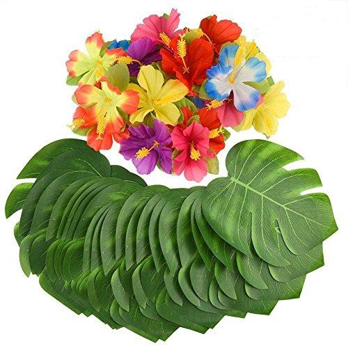 iKulilky 36 Stücke Künstliche Tropische Palm Blätter und Blume für hawaiianische Tisch Jungle Beach Theme BBQ Geburtstag Luau Dschungel Party Dekoration (Blumen und Blätter)