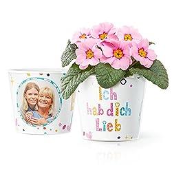 Facepot Ich hab Dich lieb Geschenk - Blumentopf (ø16cm) für Mama, Oma, Uroma oder Tante mit Bilderrahmen für Zwei Fotos (10x15cm)
