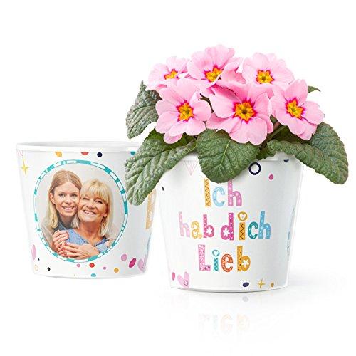 Ich hab Dich lieb Geschenk - Blumentopf (ø16cm) für Mama, Oma, Uroma oder Tante mit Bilderrahmen für zwei Fotos (10x15cm) (Bilderrahmen Zitate)