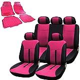 WOLTU AS7288pk+AM7161 Auto Schonbezug Schonbezüge Fußmatten, pink