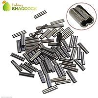 Shaddock pesca® 50,100pcs 100% ottone a doppio cilindro crimpatura maniche rame tubo connettore dimensioni 0,8/1,2mm, 0.8MM Inside Diameter-100PCS