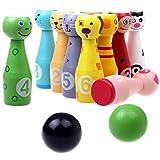 S.D. Maket Bowling per bambini legno Bowling Birilli Giocattoli animale educativi interattivi 10 pin + 2 palle ( 12cm Pin )