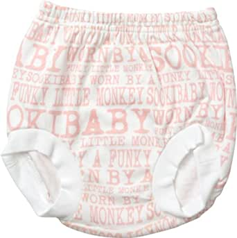 SOOKIbaby Lifestyle Funky Monkey Nappy Pant (Pink, Size 000, 3-6 Months)