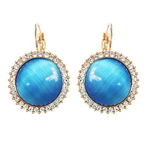 Navachi  -    Basismetall, vergoldet mit 18 kt Rundschliff   blau Opale  (Opal Und Blauer Topas)