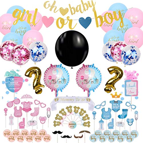 Amycute 90 Pezzi Baby Shower Decoration Kit, includere Boy or Girl Banners,Palloncini Rosa Blu,Palloncini Foil, Foto Puntelli,Palloncini coriandoli,Reveal Balloon,Cake Topper,Mamma To Be Sash