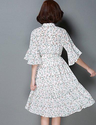PU&PU Robe Aux femmes Mousseline de Soie Simple / Street Chic,Fleur Licou Au dessus du genou Coton / Polyester WHITE-ONESIZE