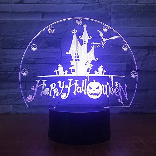 Zcmzcm 3D Nachtlichter Happy Halloweens Geschenk 7 Farben Usb Visuelle Schloss Fledermäuse Nachtlicht Schreibtischlampe 3D Led Wohnkultur Urlaub Dekor Leuchten (3d Happy Halloween)