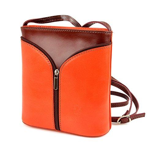 75a4dac2c45e6 Vera Pelle Handtaschen Italien Echt Leder Schultertasche Frauen Damen Tasche  Handtasche Ital Bag Orange Braun Plain