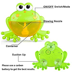 HengGL Baby Bath Bubble Toys, Automatic Frog Bubble Maker Kids Bath Bubble Machine with 12 Music Baby Fun Bath Toys
