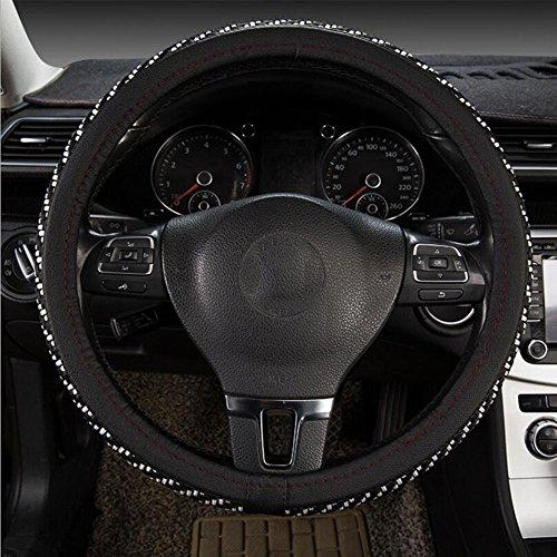 ZQQQC Four Seasons Universal Weiß Innere Atmungsaktive Anti-Rutsch-Auto-Abdeckung 38CM Lenkrad Lederbezug,BlackandWhite