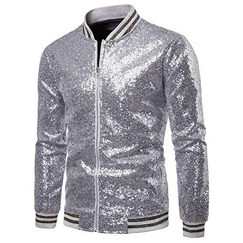 s Metallic-Jacke Slim Fit Bomber Jacke für Nachtclub Party (Silber, XXL) ()