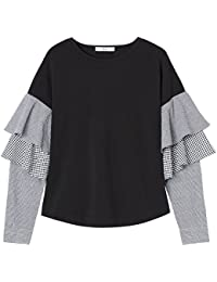 Marchio Amazon - find. T-shirt Girocollo a Manica Lunga Donna