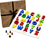 Jaques of London Alphabet Wooden Puzzle 2 in 1 Snakes and Ladders Board Game Wooden Educational Toys for Over 220 Years - Perfect Jigsaw Puzzle for Kids. Toys for 2 3 4 5 year olds.