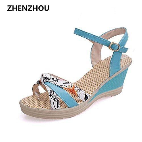 Zormey Kostenloser Versand Damenschuhe Von 2017 Sommer Damen Wedges Schuhe Sandalen Plattform Plattform Stroh Geflecht Farbe Block High-Heeled Schuhe 4