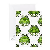 CafePress–Cute Happy Frog Pattern–Grußkarte, Note Karte, Geburtstagskarte, innen blanko, glänzend