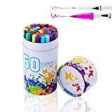 Brosse à double pointe stylos, Yougoo 60variété Couleurs de marqueur permanent Surligneur calligraphie Dessin esquisse coloriage Feutre