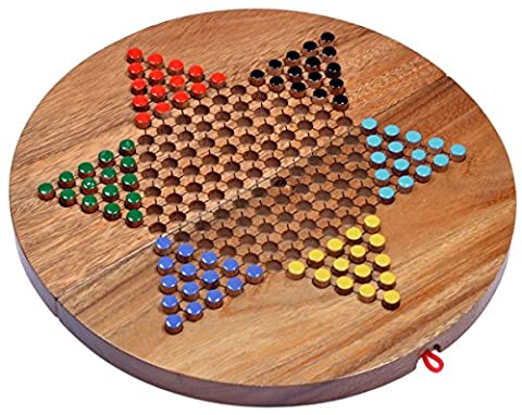 Halma Gr. XL - Stern Halma - Chinese Checkers - Strategiespiel - Gesellschaftsspiel aus Holz mit rundem, klappbarem Spielbrett