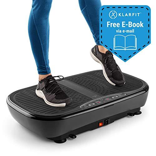 Klarfit Vibe 3DX Pro Tabla vibratoria • para Todo el Cuerpo • Potencia: 2 x 200W • Modo 3D • Superficie de 71,5 x 36cm • 60 velocidades • EBook • 2 Cuerdas para Entrenar • Mando a Distancia • Negro