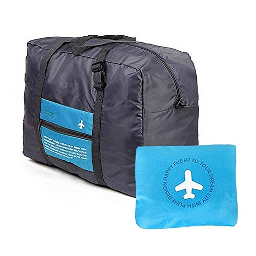 CAMTOA Waterproof Nylon Foldaway Storage/Duffel Bag For Travel,Camping,Sports Gear/Gym-Large Capacity Lightweight Trolley/Tote Bag,Can Attach on the Handle of Suitcase & Luggage-Approx.47x38x16.5cm Blue
