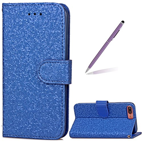 "Trumpshop Smartphone Case Coque Housse Etui de Protection pour Apple iPhone 7 Plus 5.5"" (Série 3D) + Violet + Ultra Mince Smarphonetcoque Portefeuille PU Cuir Avec Fonction Support Anti-Choc Anti-Rayu Bleu"