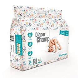 Diaper Champ Baby Diapers, Large Size, 9 to 14kg, Chlorine & Paraben Free (36 Count)