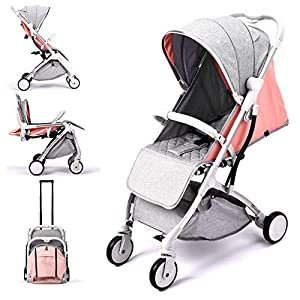 Lightweight Stroller,Compact Travel Buggy Pink,One Hand Foldable,Five-Point Harness,Great for Airplane (Pink)   6