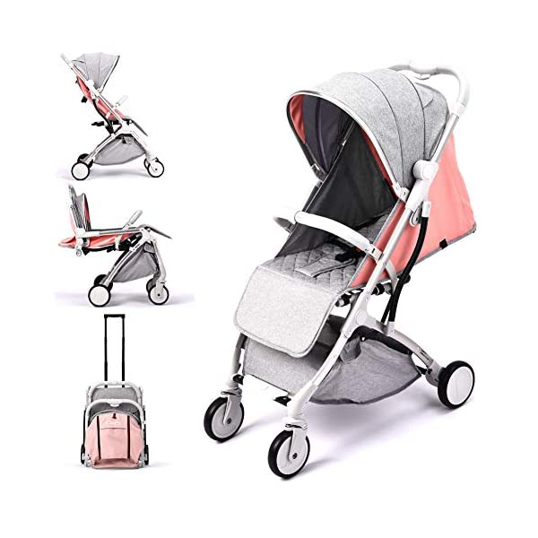 Lightweight Stroller,Compact Travel Buggy Pink,One Hand Foldable,Five-Point Harness,Great for Airplane (Pink) RUXINGGU Size:Suitable from birth up to 25kg, length:66CM, width:48cm, height:98cm.Folding up:60CM*48CM*26CM. Great for Airplane,can be placed in any car boot. Safe:With sturdy aluminum alloy, compact body and five-point seat harness,each stroller has been pressure tested to provide security for each baby. Quality and Design:The backrest of the stroller supports sitting, half lying, lying,all three angles,lengthened and widened sleeping basket. Four wheel independent shock absorbing and built-in bearings make it smoother and quieter. 1