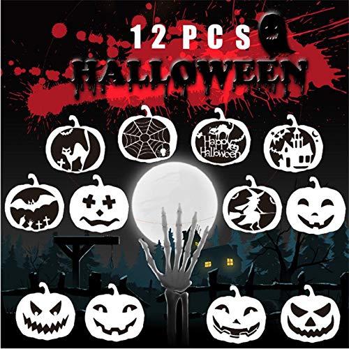 Volwco Halloween-Zeichnungs-Schablonen-Sets, 12 Stück, Verschiedene Halloween-Schablonen zum Malen auf Holz, Basteln, Karten Machen, menschliches Körpermalen, Heimdekoration