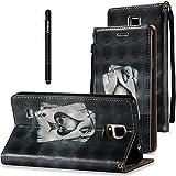 Slynmax Leder Tasche Schutzhülle für Samsung Galaxy Note 4 Flip Wallet Case Hülle Brieftasche Lederhülle im Bookstyle Slim Ledertasche Handyhülle Shell Ständer Karten Slot Magnetverschluss,Schwarz